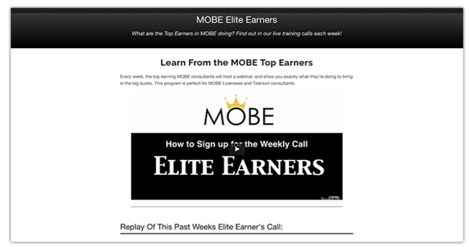 MOBE Elite Earners - learn from the MOBE TOP EARNERS