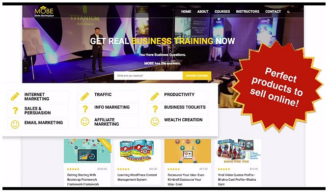 Perfect Products to sell online as an affiliate marketing MOBE system