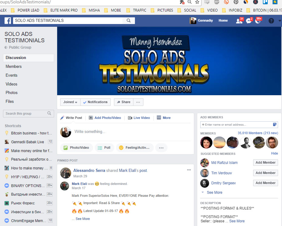 Facebook Solo Ads Testimonials Group