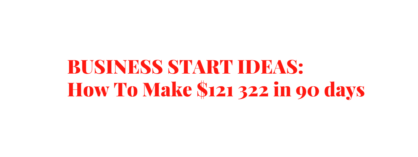 BUSINESSSTARTIDEAS or How To Make $121 322 in 90 days