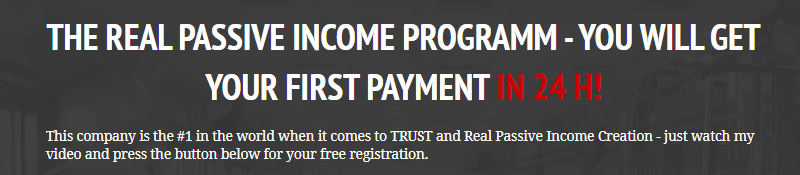 THE REAL PASSIVE INCOME PROGRAMM - YOU WILL GET YOUR FIRST PAYMENT IN 24 H!