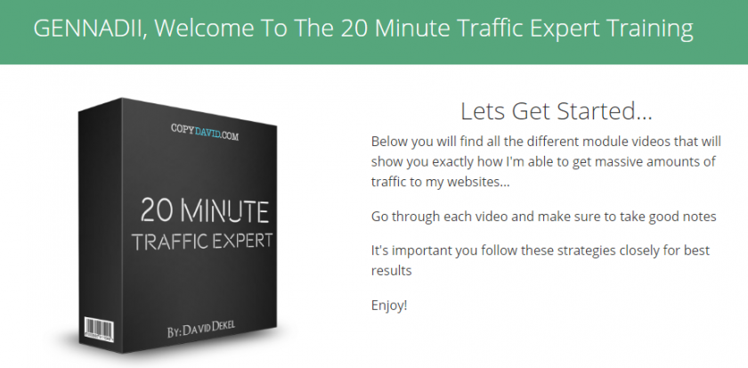 "Funnel X ROI Bonus is Access To ""20 Minute Traffic Expert Training"""