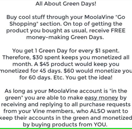 Moola Vine Green days explained