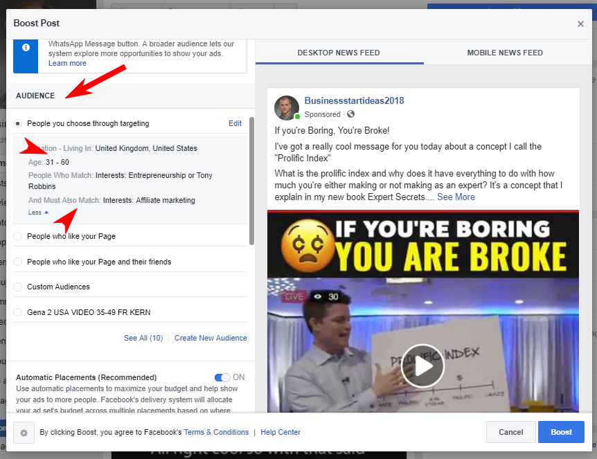 Clickfunnels affiliates: how to boost your promotional post on Facebook