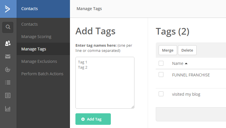 Creating TAGs in Active Campaign