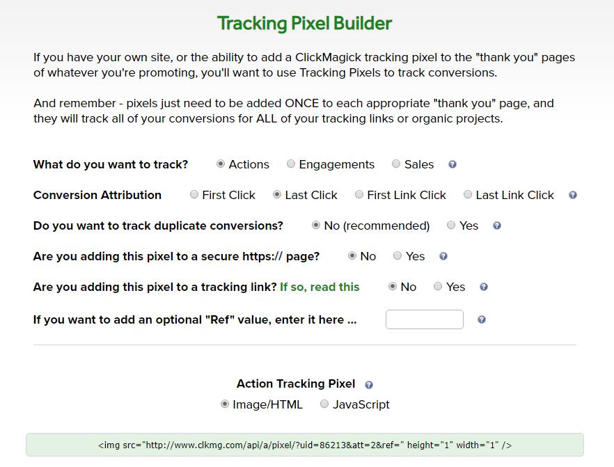 """Clickmagick Tracking Pixel Builder: adding a ClickMagick tracking pixel to the """"thank you"""" pages"""