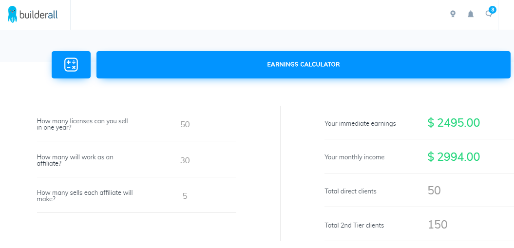 BUILDERALL EARNINGS CALCULATOR