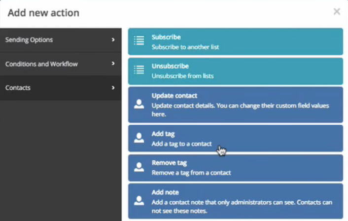 Activecampaign review by GENA BABAK - adding tags to a contact