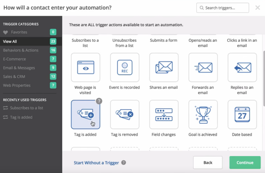 Active Campaign Case Study: how to create your first automation - adding a TAG triggered automation