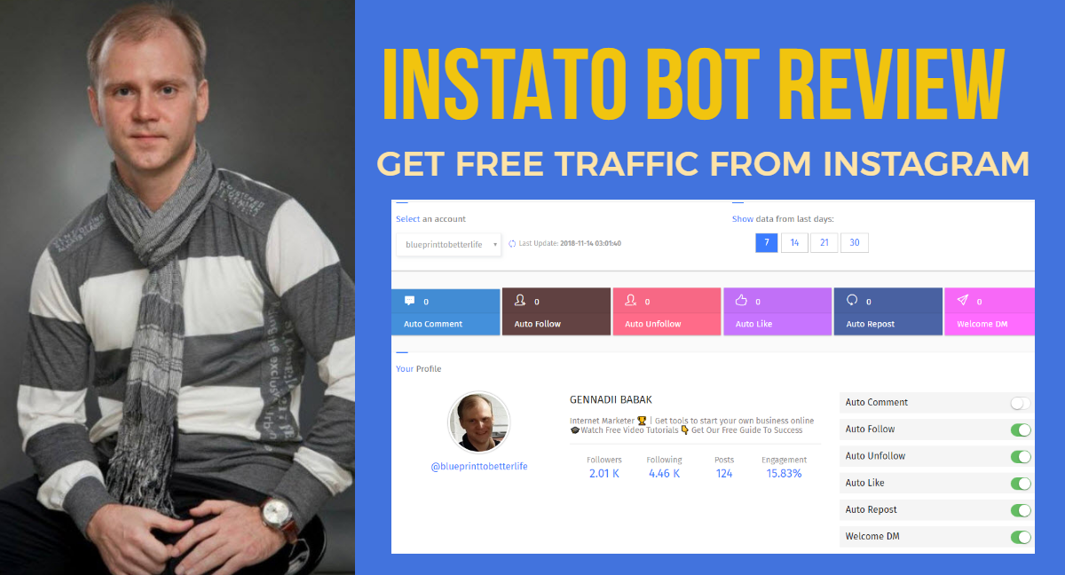 Instato Instagram Bot Review - How to get free traffic from Instagram