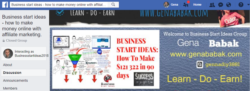 Business Start Ideas Facebook Group by Gena Babak