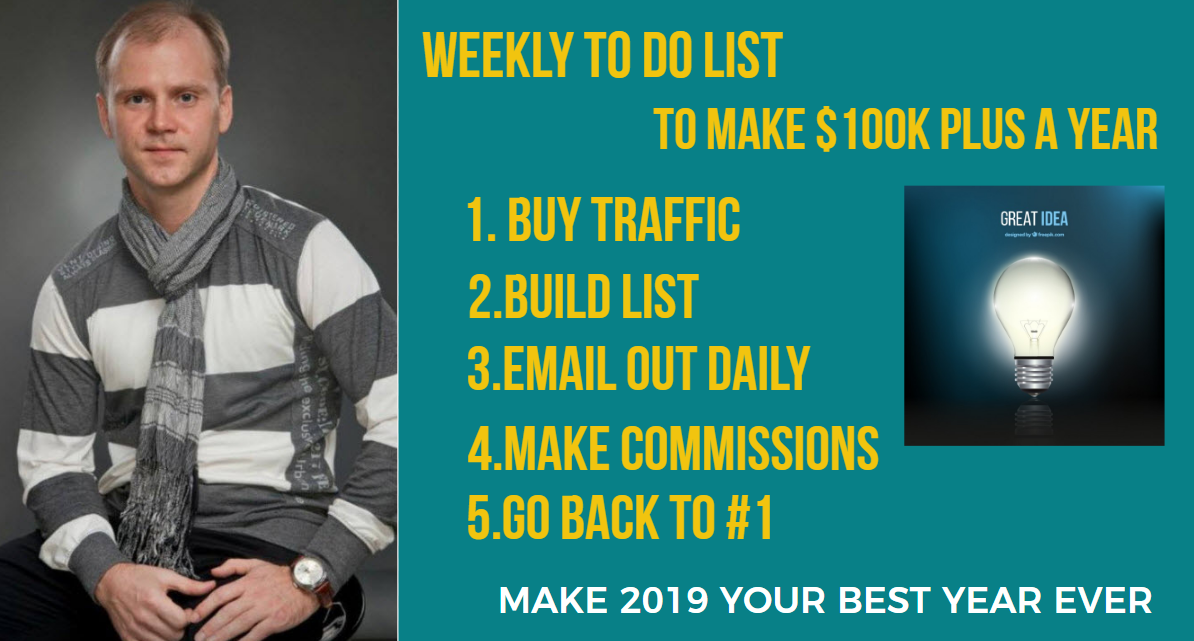 Weekly to do list for affiliate marketers
