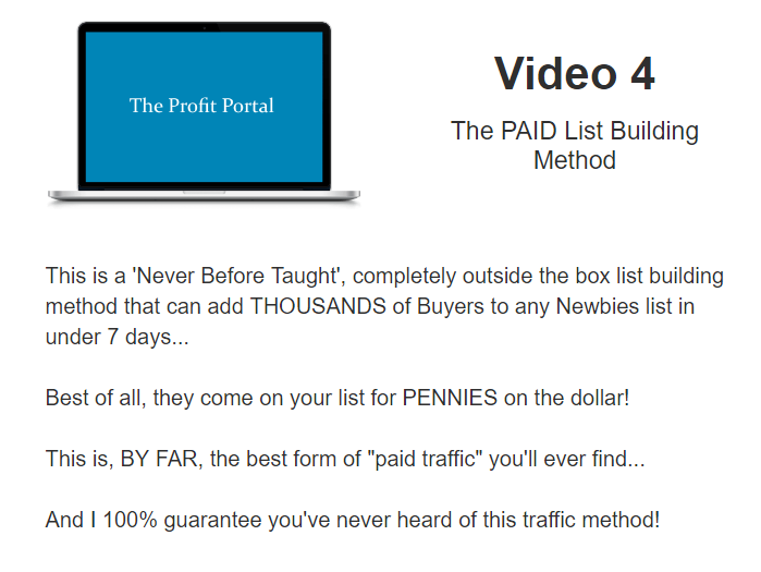 What is inside PROFIT PORTAL - VIDEO 4 - The PAID List Building Method