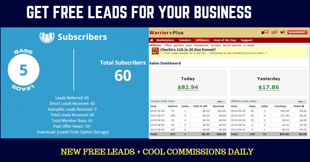 Stuff Your Account With AUTOPILOT Leads And Commissions... While Also Making Unlimited $10, $47, And $97 Commissions With This Bonus Page (Just Like I'm Doing)