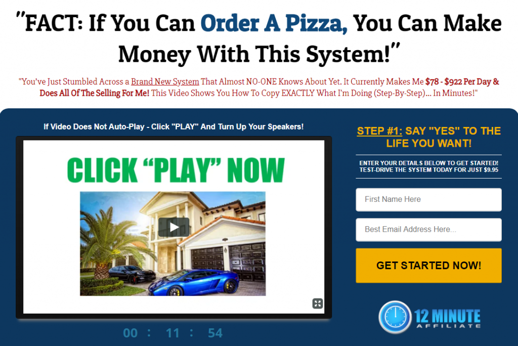 Special Features Affiliate Marketing 12 Minute Affiliate System