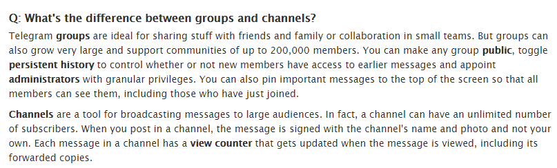 What's the difference between Telegram groups and channels?