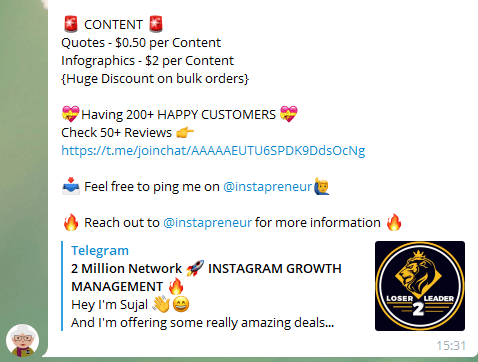 Outsourcing Instagram content creation using Executive Mafia Telegram Group