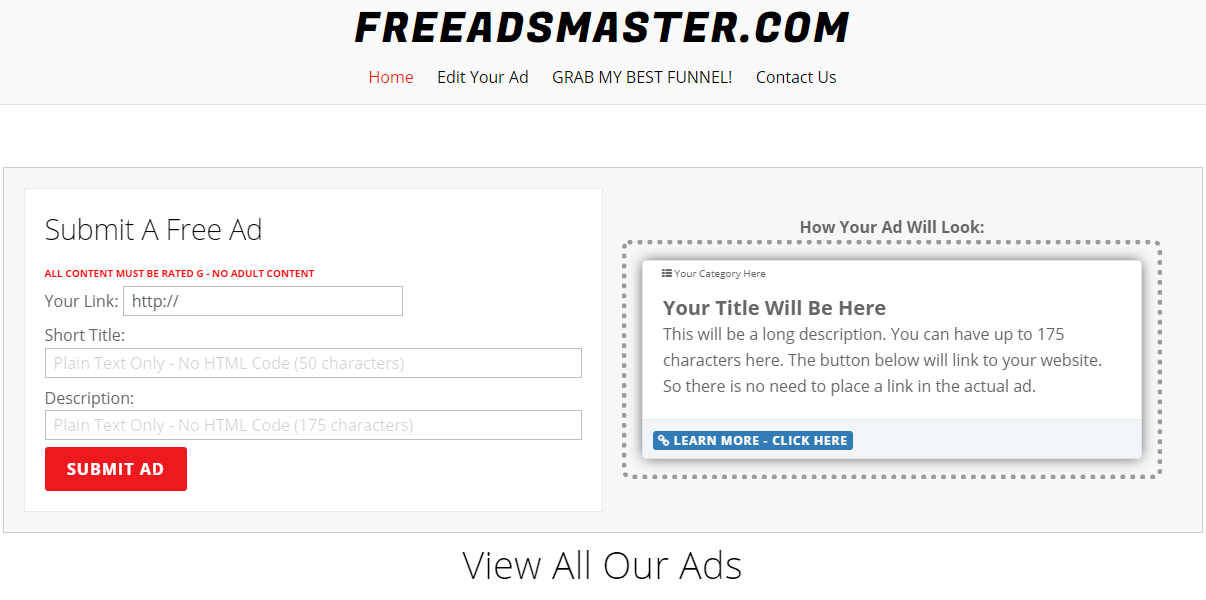 How to promote your business for free using freeadsmaster.com