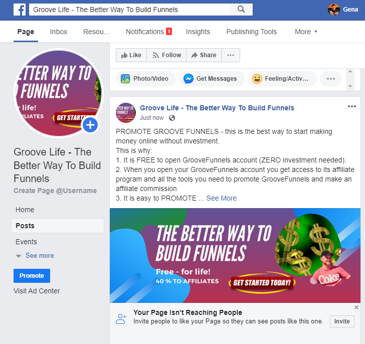 GROOVEFUNNELS - USE FACEBOOK BUSINESS PAGE TO PROMOTE YOUR GROOVE BUSINESS