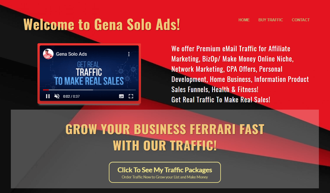 GENASOLOADS - We offer Premium eMail Traffic for Affiliate Marketing, BizOp/ Make Money Online Niche, Network Marketing, CPA Offers, Personal Development, Home Business, Information Product Sales Funnels, Health & Fitness! Get Real Traffic To Make Real Sales!